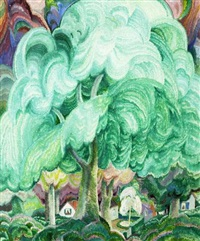 paysage aux grands arbres by raymond quibel