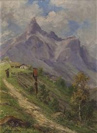 steiler dorfweg im hochgebirge mit martel und personenstaffage by gabriele arnhardt-deninger