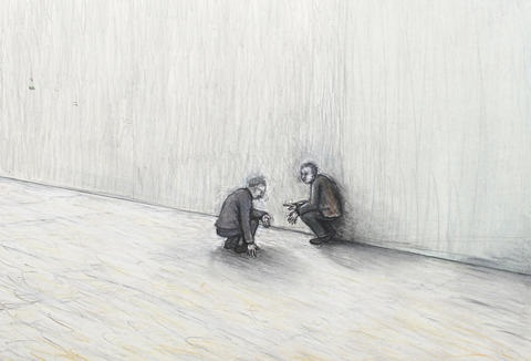 two crouching men by john r davies