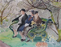garden in spring with fat lady by dorothy coke