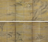 hawk on pine branch, herons and ducks in reeds (+ another; pair) by japanese school-soga (17)