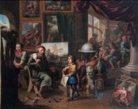 im atelier des malers (+ beim arzt; pair) by balthasar van den bossche