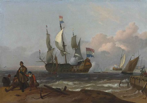 a dutch man of war firing a salute and other shipping off an island possibly texel with fishermen on the shore in the foreground and others on a pier by ludolf backhuysen the elder