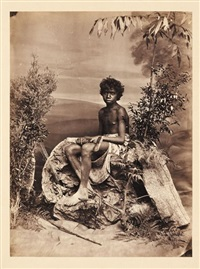 jeune aborigène en studio, australie by john william lindt