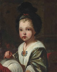 portrait of a girl as a seamstress by antonio mercurio amorosi