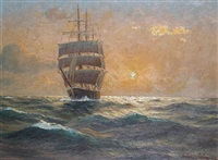a ship at sunset by martin franz glüsing (francis-glüsing)