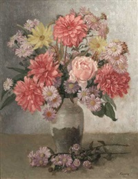 still life - dahlias with michaelmas daises by kalman kemeny