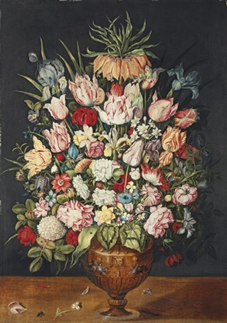 tulips roses a chrysanthemum and other flowers in a sculpted bronze urn by osias beert the elder