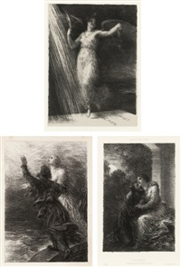 12 plates (from richard wagner, sa vie et ses oeuvres) by adolphe jullien (with another lithograph) (set of 13) by henri fantin-latour