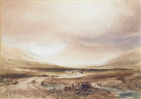 landscape with cattle (+ another; 2 works) by copley fielding