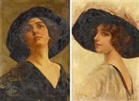 zwei gemälde mit damenportraits (2 works) by giuseppe gelanze