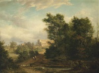 a wooded river landscape with a traveller on a track, st. albans abbey beyond by alexander nasmyth