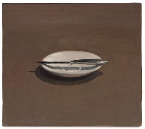 untitled knife and dish by vija celmins