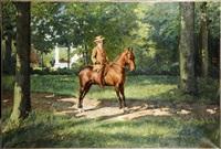 cavalier dans un parc arboré by frans jan simons