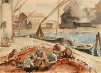 mending the nets, san pedro harbor by mischa askenazy