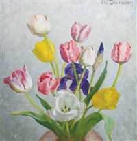 still life of tulips by mary duncan