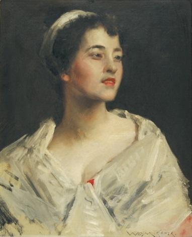 jeune femme au châle blanc by william merritt chase