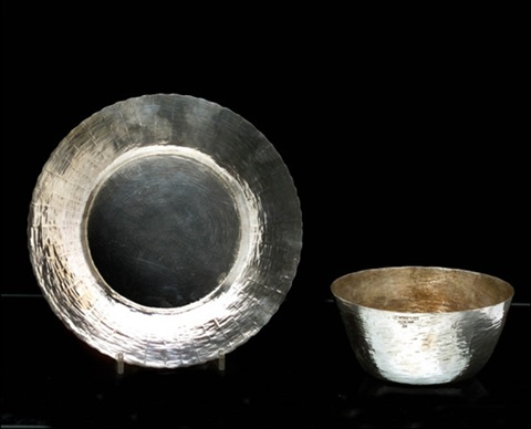 hopeamalja ja vati a silver bowl and a dish different sizes by tapio wirkkala