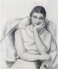 woman resting in a chair (+ 8 others; 9 works) by charles stafford duncan