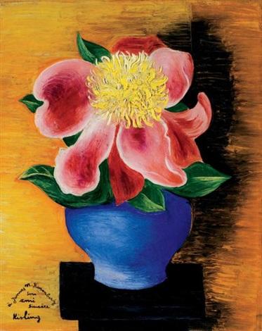 fleurs dans un vase bleu by moïse kisling