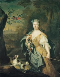portrait of a lady standing in a wooded landscape with a spaniel and a perroquet in a tree nearby by hieronymus van der mij