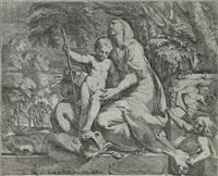 maria mit dem kinde, welches auf den drachen tritt (after pietro testa) by giovanni cesare testa