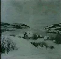 a view of a coastal village, winter by karl johannes andreas adam dørnberger