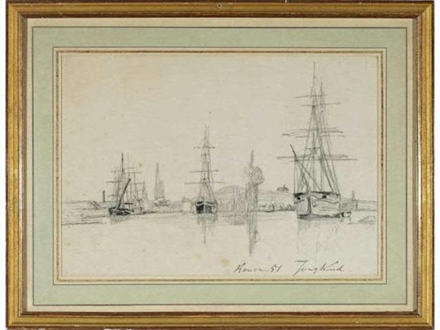 voiliers dans le port de rouen by johan barthold jongkind