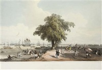 town and port of calcutta (+ a view near the circular road; 2 works) by charles (sir) d'oyly