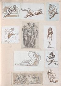 un album d'environ 1270 études d'animaux et d'après les maîtres (album w/ 1270 studies) by michel nitot