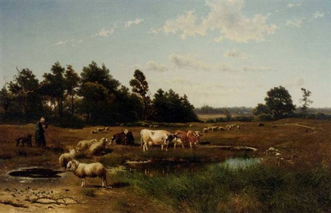 a summer landscape with cattle grazing by johan daniel koelmann