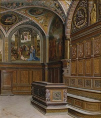 frescoes in a gothic church interior by querina fabretti