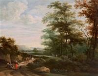 waldlandschaft mit einem rastenden paar und weiteren figuren by martinus de la court