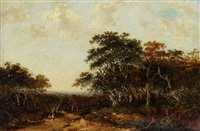 a wooded landscape with travellers on a path by charlotte nasmyth