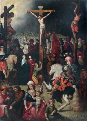 le christ en croix entouré du bon et du mauvais larron by louis de caullery