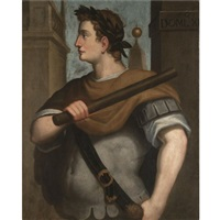 portrait of the emperor domitian, standing, in profile, wearing a laurel wreath and holding a baton by bernardino campi