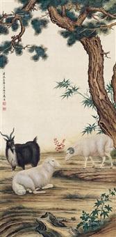 三羊开泰图 立轴 by ma jin