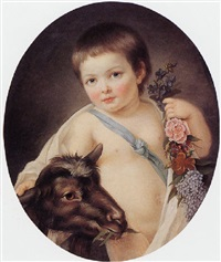 portrait of a child with a goat by marie-victoire lemoine
