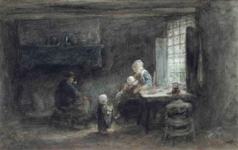 family in a dutch interior by jozef israëls