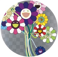 purple flowers in a bouquet; kansei kōrin gold; and then and then and then and then and then (pink); and then and then and then and then and then (blue) (4 works) by takashi murakami