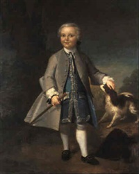 portrait of a young boy with his dog by willem verelst