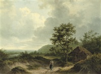 a peasant on a sandy path by alexander joseph daiwaille