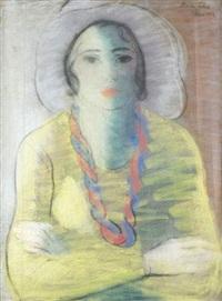 portrait de femme à la robe jaune by maria lehel