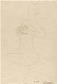 stehender frauenakt mit erhobenem linkem bein, die hände an der brust by gustav klimt