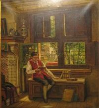 jonge knaap verdiept in zijn lectuur by benjamin linning