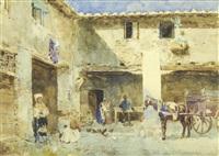 a courtyard scene by ettore simonetti