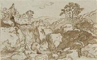 gebirgige landschaft mit wasserfall und der figur einer frau im vordergrund (sketch) by friedrich (maler müller) müller