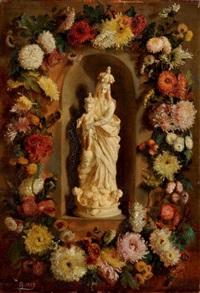 vierge à l'enfant dans une niche bordée d'une guirlande de fleurs by simon saint-jean