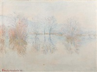 reflets d'arbres sur la seine en hiver by blanche hoschedé-monet