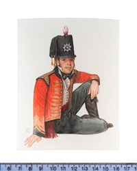 an officer of the 1st dragoons, king's germal legion, seated, wearing scarlet coat with gold embroidery, white waistcoat and plumed black hat by michael bartlett
